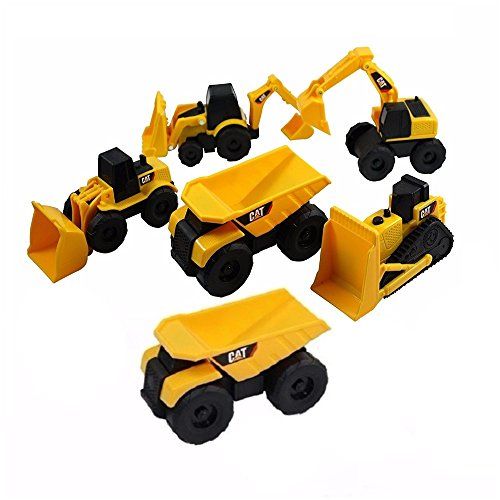 (CAT Mini Machine Caterpillar Construction Truck Toy Cars Set of 6, Dump Truck x 2, Bulldozer, Wheel Loader, Excavator and Backhoe Free-Wheeling Vehicles w/Moving Parts -Great Cake Toppers)