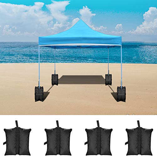 Neewer 4-Packs Weight Bags Leg Sandbags Weighted Base for Anchoring Canopy Tent Sunshade Outdoor Shelter 19.2 x 15.7 x 16.5 inches 49 x 40 x 42 Centimeters Black,Empty Bag
