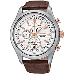Seiko Men's SPC129P1 Neo Classic Alarm Perpetual Chronograph White Dial Brown Leather Watch
