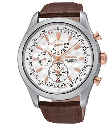 Seiko-Mens-SPC129P1-Neo-Classic-Alarm-Perpetual-Chronograph-White-Dial-Brown-Leather-Watch
