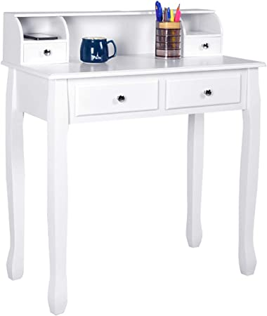 Giantex Writing Desk with 4 Drawers, Removable Floating Organizer 2-Tier  Mission Home Computer Vanity Desk for Apartment Small Space, White