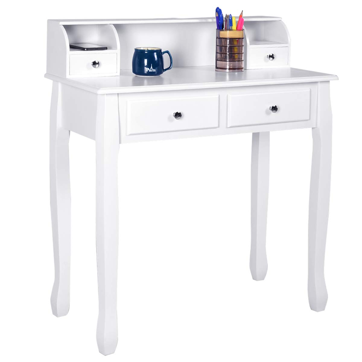 Giantex Writing Desk with 4 Drawers 2-Tier Mission Home Office Computer Desk, White by Giantex