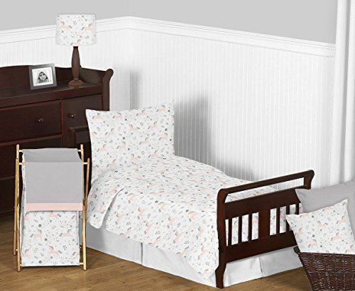 Pink, Grey and Gold Unicorn Girl Toddler Kid Childrens Bedding Set by Sweet JoJo Designs - 5 Pieces Comforter, Sham and Sheets (Toddler Bedding Classic)