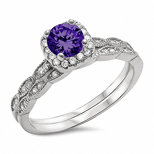 - Two Piece Halo Art Deco Wedding Engagement Ring Band Simulated Amethyst 925 Sterling Silver,Size-9