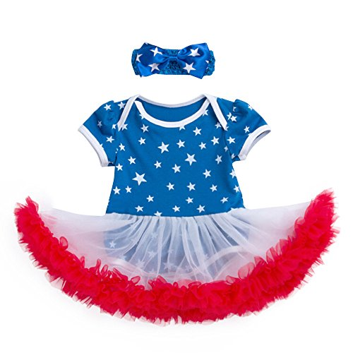 perfectCOCO Newborn Baby Dress 4th of July Outfits Short Sleeve Romper Dot Print Tutu Dress with Bow Headband Set -