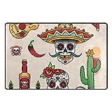 Funny Doormat Mexican Symbols Non Slip Backing Door Mat for Front Door Inside Floor Mats Entrance Area Rug 60''x39'' Shoes Scraper Carpets