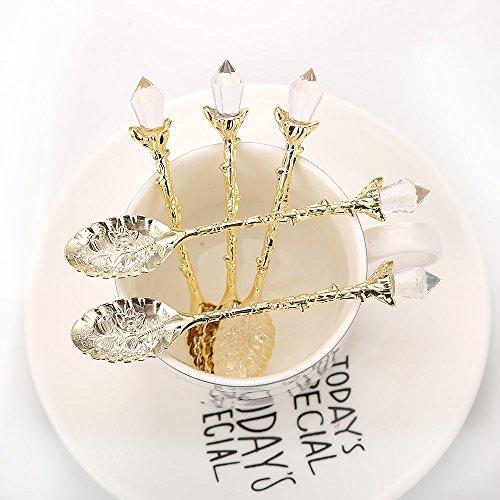 - Sthetic Design 12pcs Retro Luxury Royal Style Crystal Design Tea Spoon - Gold