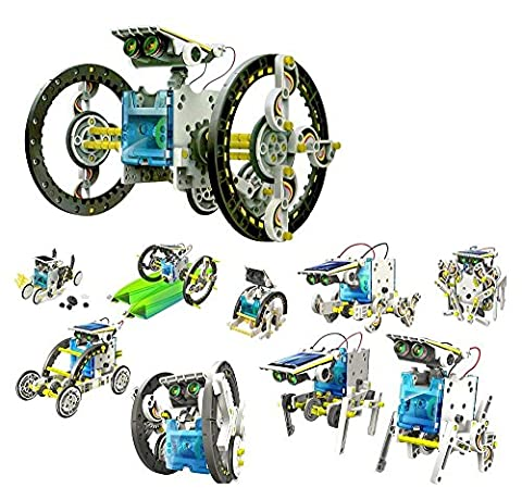 iLoonger 14 in 1 Solar Robot Assembly Rechargeable Kids Toy Kit Educational Gift a Wagging-tail Dog Running Beetle Walking Crab Surfer Speedster Zombie (Educational Kits)