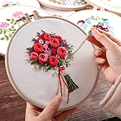 Diy Knitting - Diy Flower Regiment Embroidery With Kit Handkerchief Gift Knitting Product - Blanket Bottom Bags Beginners Machine Crochet Nail Knitting Kits