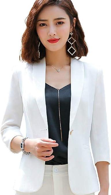 Blazer Mujer Ropa De Verano Media Manga Blazer Blanco Oficina Damas Ropa De Trabajo Tallas Grandes Tops Amazon Es Ropa Y Accesorios