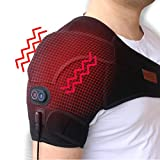 Creatrill Massaging Heated Shoulder Brace, Heat & Massage 3 Settings, Heating Pad Wrap with Vibration Motor for Rotator Cuff, Frozen Shoulder, Shoulder Dislocation Or Muscles Pain Relief