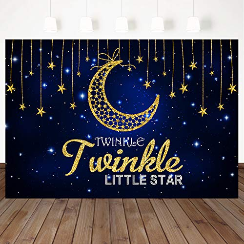 - Mehofoto Twinkle Twinkle Little Star Backdrop Blue Sky Background Golden Star Moon Decorated Backdrops 7X5ft Vinyl Kids Birthday Party Photo Props