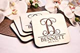 Personalized Coasters - Set of 4 - Vine Initial