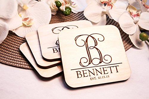 Personalized Coasters - Set of 4 - Vine Initial by CabanyCo