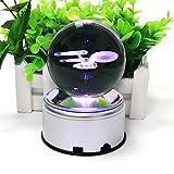 (US) 3D K9 Inspired Laser Engraved Crystal Ball LED Night Light Lamp Lighting With Rotating base Flashing Colored (Battleship)