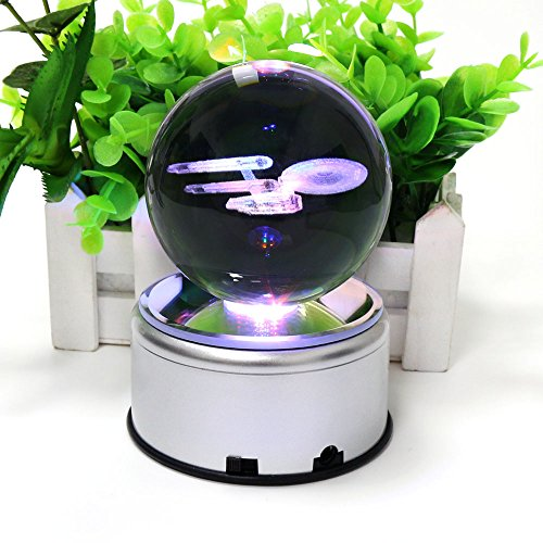 3D K9 Inspired Laser Engraved Crystal Ball LED Night Light Lamp Lighting With Rotating base Flashing Colored (Battleship)