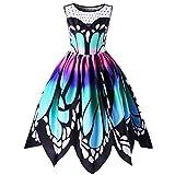 Tenworld Women's Butterfly Print Dress Plus Size Summer Sleeveless Swing Dresses