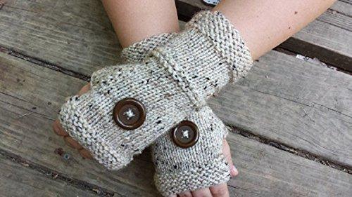 Knit Fingerless Gloves - Handmade Fingerless Gloves With Buttons - Wristwarmers - Arm Warmers - Women's Accessories