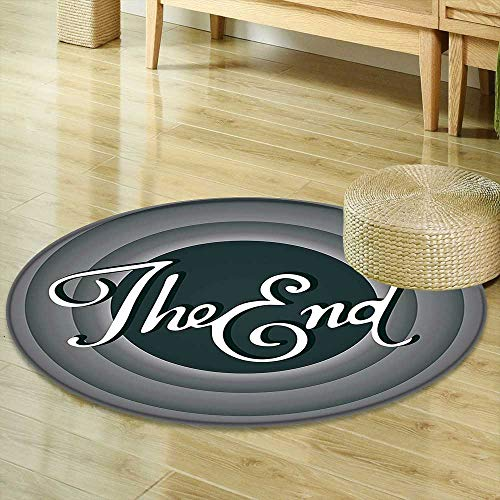 Mikihome Round Area Rug 1950s Decor Collection Vintage Movie Ending Screen Camera Hollywood Industry Historic Entertainment Film Television Image Grey Living Dinning Room & Bedroom Rugs R-47