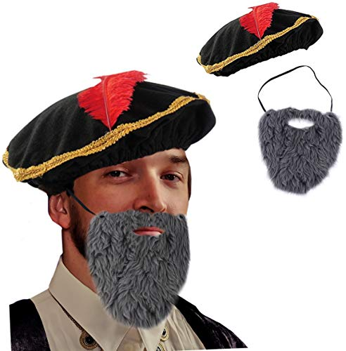 Tigerdoe Renaissance Costume - 2 Pc Set - Medieval Hat with Beard - Minstrel Costume- Renaissance Costume Accessories -