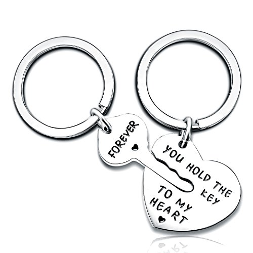 (2pcs Couple Key Chain Ring Set - You Hold The Key to My Heart & Forever - Love Heart Key Locks Lover Gift (A)