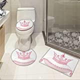 Queen bathroom and toilet mat set Cartoon Style Cute Pink Princess Crown on Pillow Fairy Tail Fantasy Girlish Fashion Custom made Rug Set Pale Pink