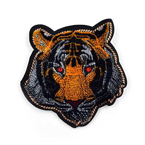 (Fabric Embroidery Animal Tiger Brooches for Women Fashion Large Butterfly Insect Brooch Pin Handmade Bead Sewing)
