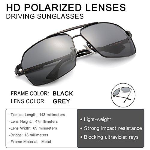 Conducir Rectángulo Negro UVA Gris Ultraligero Hombre Gafas Reflectante para Metal Protección De Sol Anti UVB Polarizadas 1rR1qg