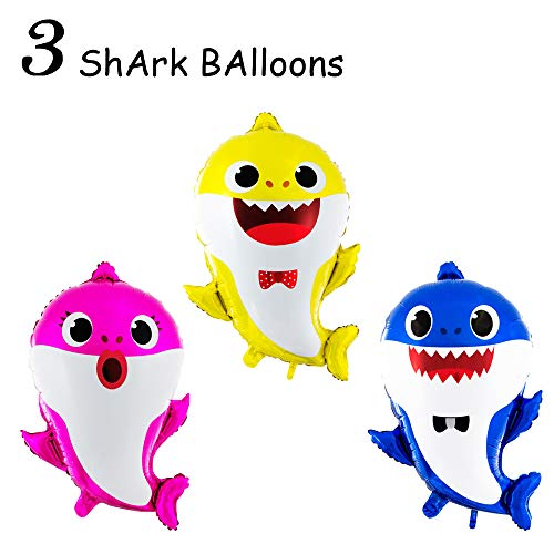3 Baby Cute Shark Party Supplies Balloons - Birthday Decorations Children Birthday Doo Doo Party Balloon Set - 3 Pcs