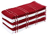 : J & M Home Fashions 6Pk Ribbed Terry Kitchen Towel Red