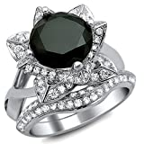 Smjewels 3.00 Ct Black Round Sim.Diamond Lotus Flower Engagement Ring Set In 14K White Gold Fn