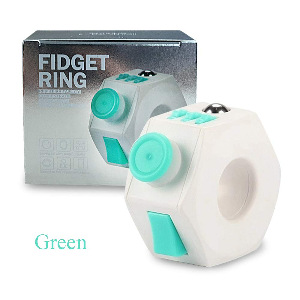 LMYG Decompression Toy, Fidget Cube Multi-Function Ring Ring Decompression Artifact Creative Gift Novelty Toy Suitable for Adults and Children,Green