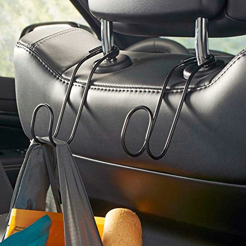 (High Road Contour Car Hooks Metal Headrest Hangers - 2 Pack (Black))