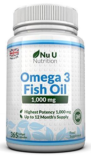Omega 3 Fish Oil 1000mg 365 Softgels by Nu U Nutrition (1 Year Supply) by Nu U
