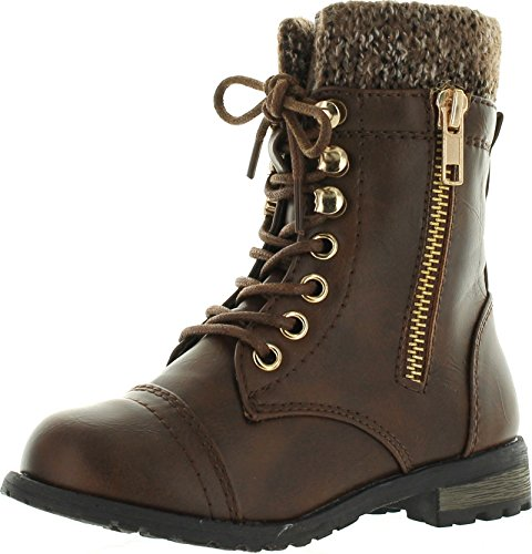 JJF Shoes Mango-31 Kids Brown Round Toe Military Lace Up Knit Ankle Cuff Low Heel Combat Boots-9