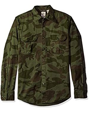 Men's Long Sleeve Twill Button Front Shirt