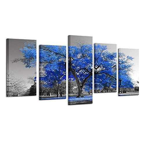 (Kreative Arts Canvas Print Wall Art Painting Contemporary Blue Tree in Black and White Style Fall Landscape Picture Modern Giclee Stretched and Framed Artwork (Large Size 60x32inch))