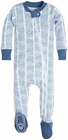 Burt's Bees Baby Baby Boys' Organic Print Zip Front Non-Slip Footed Sleeper Pajamas (Newborn-24 Months)