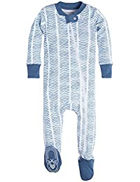 Baby Boys' Organic Print Zip Front Non-Slip Footed Sleeper Pajamas (Newborn-24 Months)