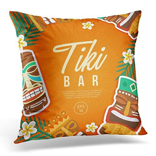 Sdamas Pillow case Colorful Bar Tiki Tribal Mask Hawaiian Party Throw Pillow Case Home Decor Square Pillowcase Decorative 20x20 Inches
