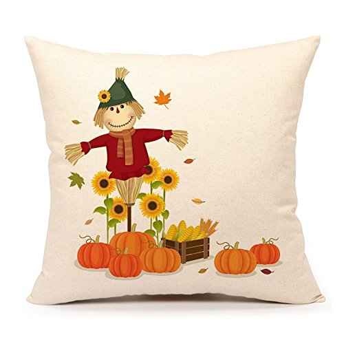 4TH Emotion Fall Pumpkin Scarecrow Throw Pillow Cover Autumn Thanksgiving Cushion Case for Sofa Couch 18 x 18 Inch Cotton Linen