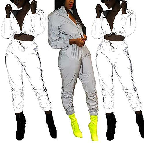 Sport Hommes Taille Pantalon Jogging Réfléchissant Combinaison De Poches Haute Elastique Femme Avec gwc7F6wq