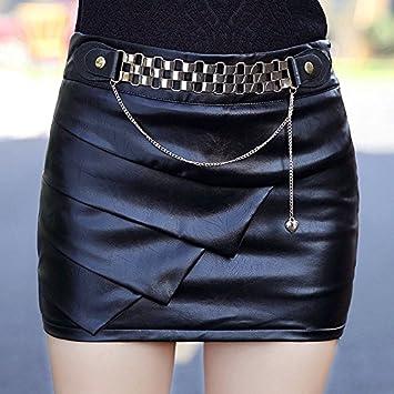 XiaoGao Falda de Cuero de la PU Negro Apretado,L: Amazon.es ...