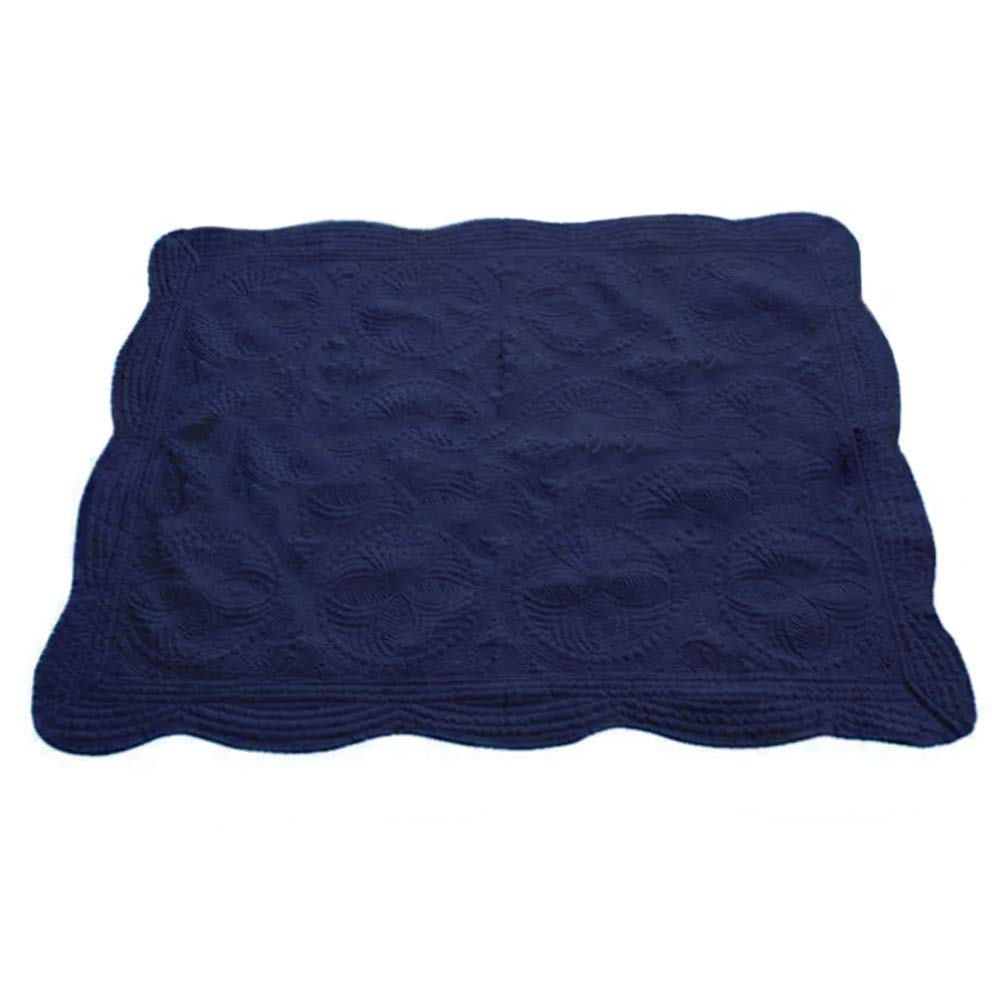 """CFP Navy Baby Quilt for Boys - 100 Cotton Embossed Quilted Navy Baby Blanket, 36"""" × 46"""", Nice Stitching Detail, Light Weight and Soft Perfect Newborn Navy Baby Quilts (Navy)"""
