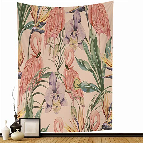 Ahawoso Wall Hanging Tapestry 60x90 Inch Palm Autumn Botanical Upholstery Tropical Plant Flowers Leaves Vintage Jungle Plants Nature Garden Tapestries Home Decor Print for Living Room Bedroom Dorm (Springs Palm Upholstery)