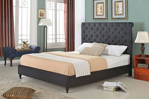 Home Life Cloth Black Linen 51 Tall Headboard Platform Bed with Slats Queen – Complete Bed 5 Year Warranty Included 008