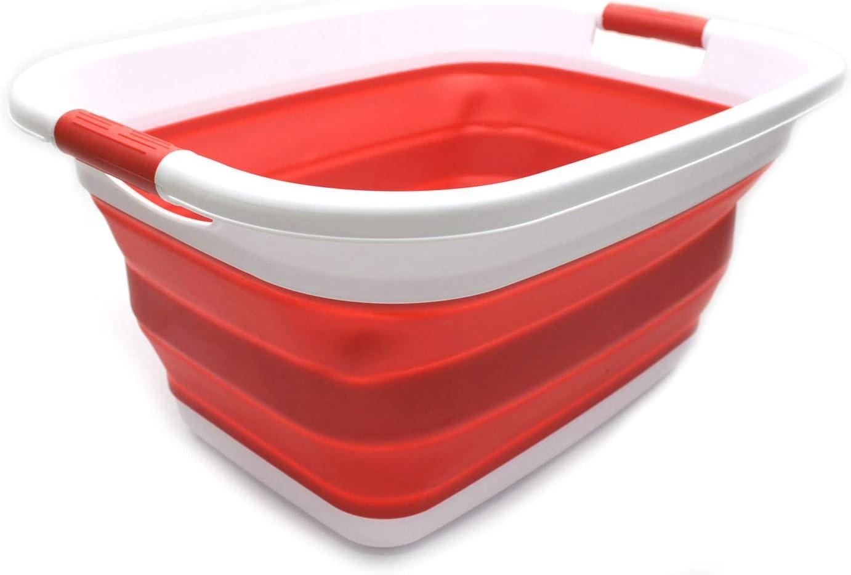SAMMART Collapsible Plastic Laundry Basket - Foldable Pop Up Storage Container/Organizer - Portable Washing Tub - Space Saving Hamper/Basket (1, Red)