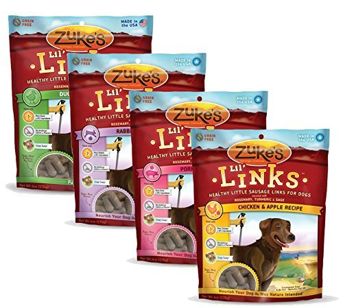 Zukes, Lil' Links, Grain Free Dog Treats, Economy Variety 4-Pack ……(6 oz each flavor)