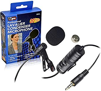 20 Audio Cable Electret Condenser Samsung HMX-H300 Camcorder External Microphone Vidpro XM-L Wired Lavalier microphone Transducer type