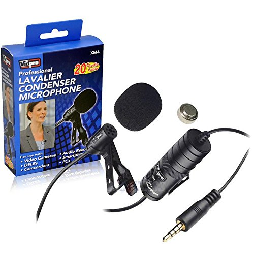 External Microphone Vidpro XM-L Wired Lavalier Microphone - 20' Audio Cable - Transducer Type: Electret Condenser For Canon DSLR and Camcorders by VidPro